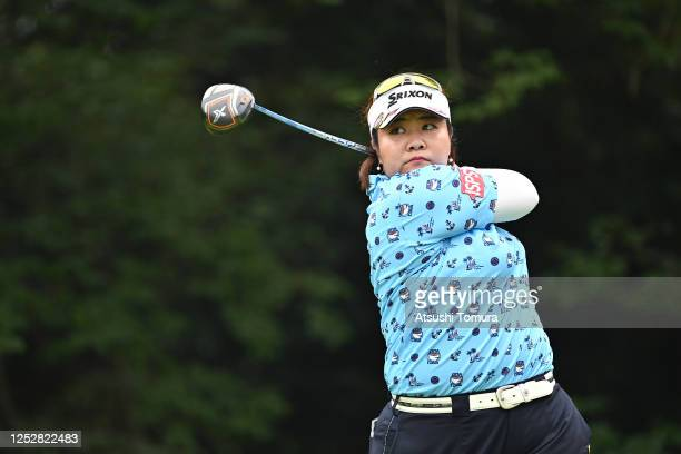 Miki Sakai of Japan hits her tee shot on the 14th hole during the third round of the Earth Mondamin Cup at the Camellia Hills Country Club on June 27...
