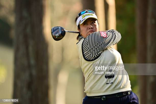 Miki Sakai of Japan hits her tee shot on the 15th hole during the second round of the Ito-En Ladies Golf Tournament at the Great Island Club on...