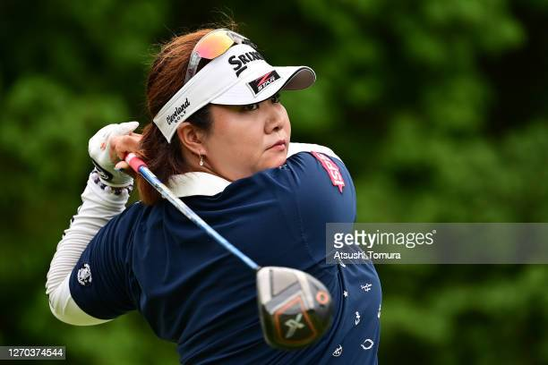 Miki Sakai of Japan hits her tee shot on the 16th hole during the practice round ahead of the GOLF5 Ladies Tournament at the GOLF5 Country Mizunami...