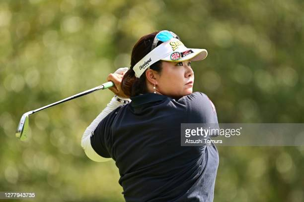 Miki Sakai of Japan hits her tee shot on the 17th hole during the second round of the Japan Women's Open Golf Championship at the Classic Golf Club...