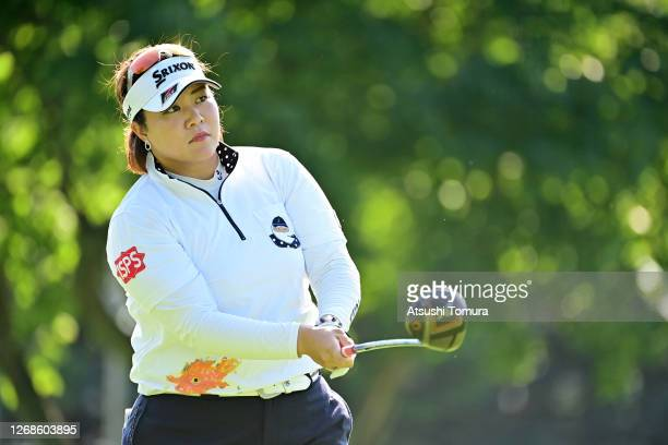Miki Sakai of Japan hits her tee shot on the 1st hole during a practice round ahead of the Nitori Ladies Golf Tournament at the Otaru Country Club on...