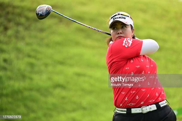 Miki Sakai of Japan hits her tee shot on the 1st hole during the first round of the GOLF5 Ladies Tournament at the GOLF5 Country Mizunami Course on...