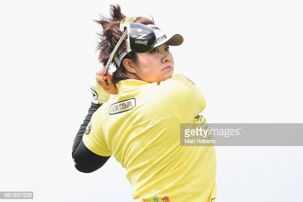Miki Sakai of Japan hits her tee shot on the 1st hole during the first round of the Yonex Ladies Golf Tournament 2016 at the Yonex Country Club on...