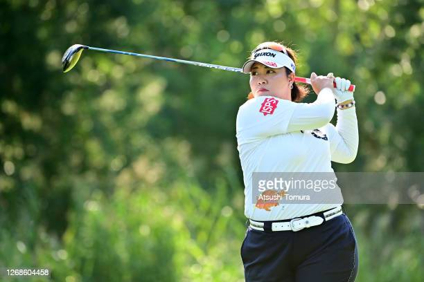 Miki Sakai of Japan hits her tee shot on the 2nd hole during a practice round ahead of the Nitori Ladies Golf Tournament at the Otaru Country Club on...
