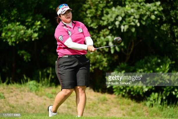 Miki Sakai of Japan hits her tee shot on the 2nd hole during the first round of the Descente Ladies Tokai Classic at the Shin Minami Aichi Country...