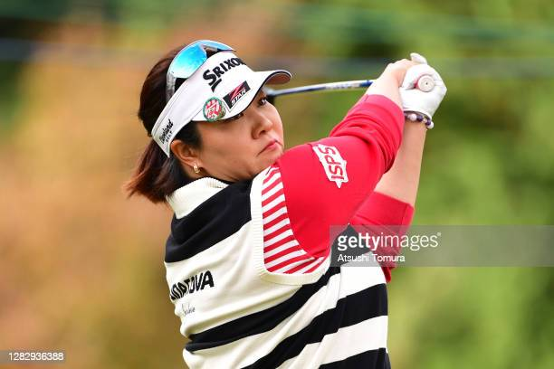 Miki Sakai of Japan hits her tee shot on the 2nd hole during the first round of the Hisako Higuchi Mitsubishi Electric Ladies Golf Tournament at the...