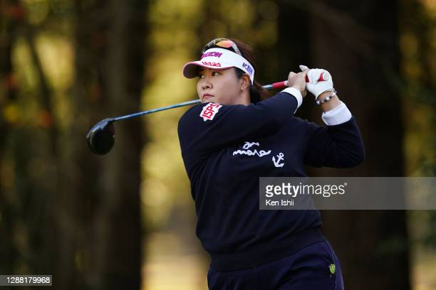 Miki Sakai of Japan hits her tee shot on the 2nd hole during the third round of the JLPGA Tour Championship Ricoh Cup at the Miyazaki Country Club on...
