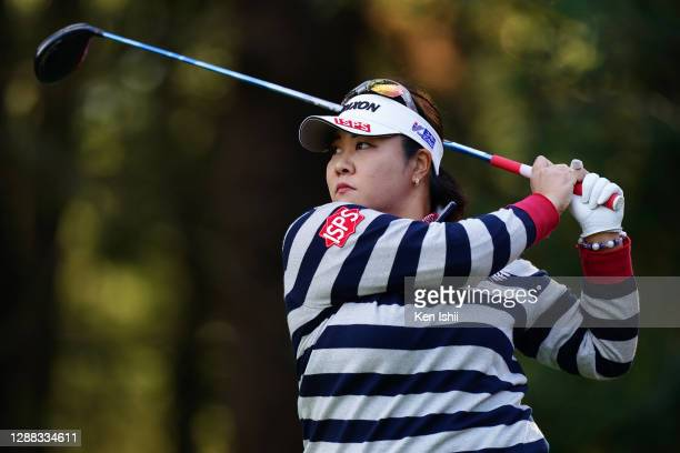 Miki Sakai of Japan hits her tee shot on the 2nd hole during the final round of the JLPGA Tour Championship Ricoh Cup at the Miyazaki Country Club on...