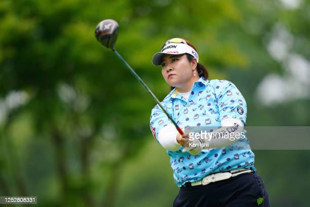 Miki Sakai of Japan hits her tee shot on the 3rd hole during the third round of the Earth Mondamin Cup at the Camellia Hills Country Club on June 27...