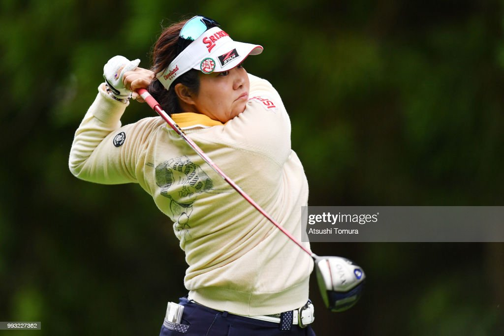 Miki Sakai of Japan hits her tee shot on the 3rd hole during the second round of the Nipponham Ladies Classic at the Ambix Hakodate Club on July 7, 2018 in Hokuto, Hokkaido, Japan.