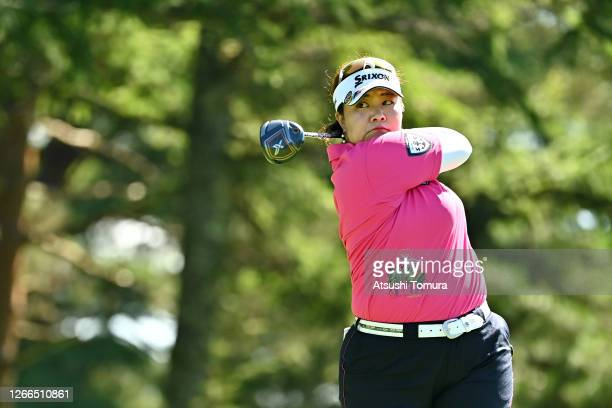 Miki Sakai of Japan hits her tee shot on the 4th hole during the final round of the NEC Karuizawa 72 Golf Tournament at the Karuizawa 72 Golf Kita...