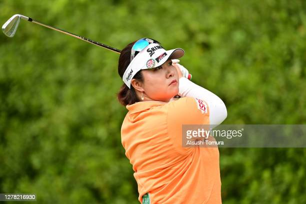 Miki Sakai of Japan hits her tee shot on the 4th hole during the third round of the Japan Women's Open Golf Championship at the Classic Golf Club on...