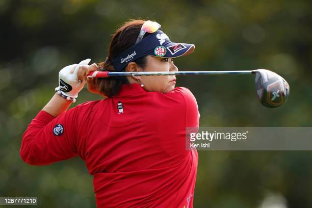 Miki Sakai of Japan hits her tee shot on the 4th hole during the first round of the JLPGA Tour Championship Ricoh Cup at the Miyazaki Country Club on...