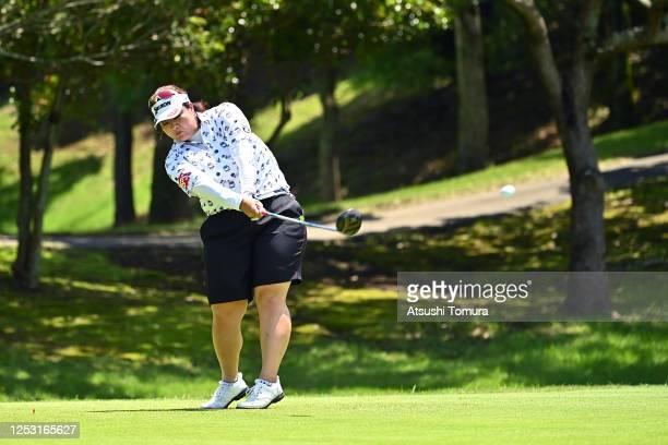Miki Sakai of Japan hits her tee shot on the 5th hole during the final round of the Earth Mondamin Cup at the Camellia Hills Country Club on June 29...