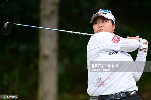 Miki Sakai of Japan hits her tee shot on the 5th hole during the final round of the Japan Women's Open Golf Championship at the Classic Golf Club on...
