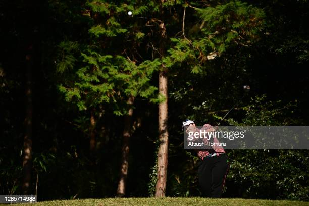 Miki Sakai of Japan hits her tee shot on the 5th hole during the final round of the Ito-En Ladies Golf Tournament at the Great Island Club on...