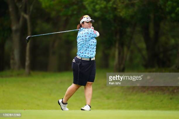 Miki Sakai of Japan hits her tee shot on the 6th hole during the third round of the Earth Mondamin Cup at the Camellia Hills Country Club on June 27...