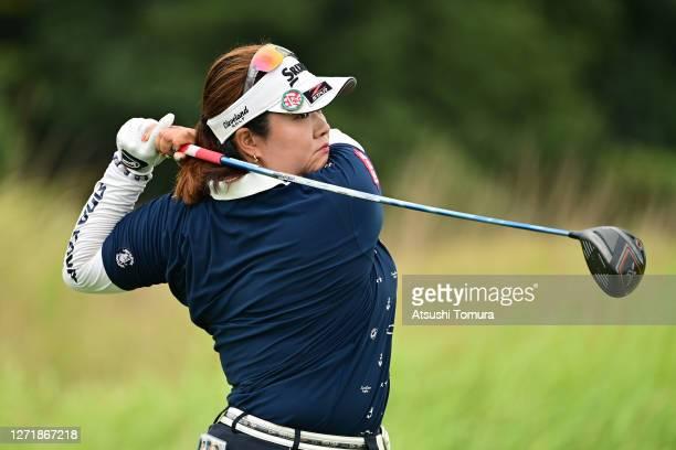 Miki Sakai of Japan hits her tee shot on the 6th hole during the second round of the JLPGA Championship Konica Minolta Cup at the JFE Setonaikai Golf...