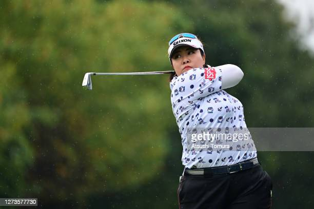Miki Sakai of Japan hits her tee shot on the 6th hole during the final round of the Descente Ladies Tokai Classic at the Shin Minami Aichi Country...