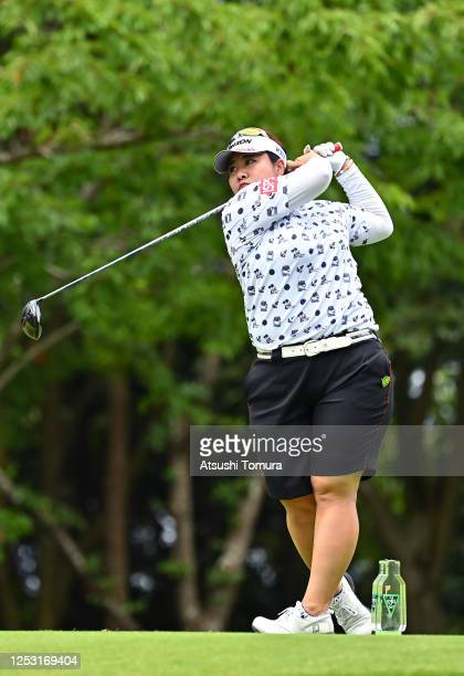 Miki Sakai of Japan hits her tee shot on the 8th hole during the final round of the Earth Mondamin Cup at the Camellia Hills Country Club on June 29...