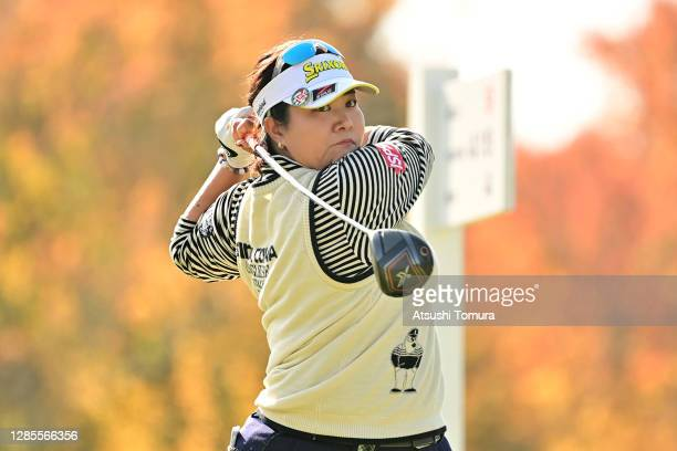 Miki Sakai of Japan hits her tee shot on the 9th hole during the second round of the Ito-En Ladies Golf Tournament at the Great Island Club on...