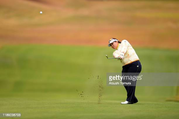 Miki Sakai of Japan hits her third shot on the 11th hole during the second round of the Daio Paper Elleair Ladies at Elleair Golf Club Matsuyama on...
