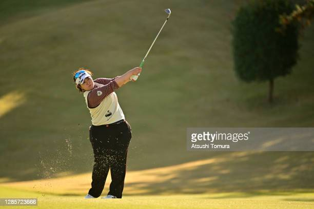 Miki Sakai of Japan hits her third shot on the 15th hole during the final round of the Ito-En Ladies Golf Tournament at the Great Island Club on...