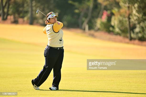 Miki Sakai of Japan hits her third shot on the 2nd hole during the second round of the JLPGA Tour Championship Ricoh Cup at the Miyazaki Country Club...