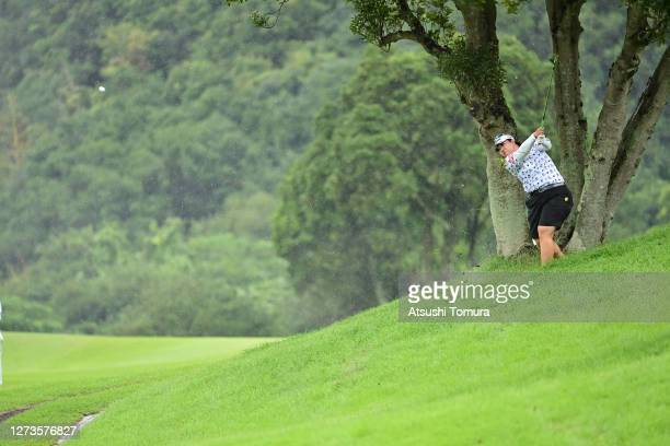 Miki Sakai of Japan hits her third shot on the 5th hole during the final round of the Descente Ladies Tokai Classic at the Shin Minami Aichi Country...