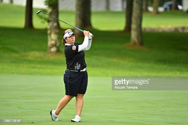Miki Sakai of Japan plays a shot on the 10th hole during a practice round ahead of the NEC Karuizawa 72 Golf Tournament at the Karuizawa 72 Golf Kita...