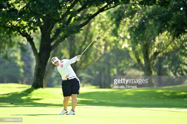 Miki Sakai of Japan plays a shot on the 1st hole during a practice round ahead of the Nitori Ladies Golf Tournament at the Otaru Country Club on...