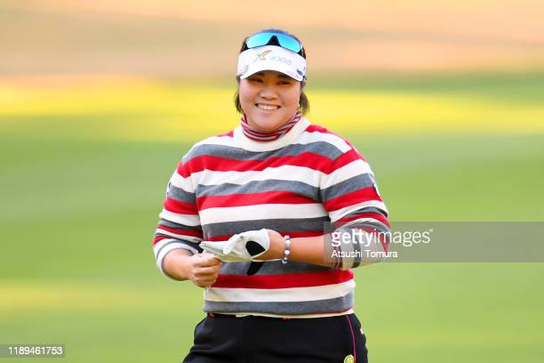 Miki Sakai of Japan smiles after her second shot on the 10th hole during the third round of the Daio Paper Elleair Ladies at Elleair Golf Club...