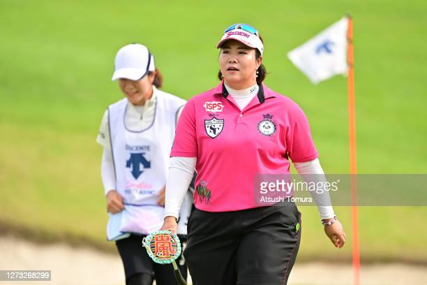 Miki Sakai of Japan smiles during the first round of the Descente Ladies Tokai Classic at the Shin Minami Aichi Country Club Mihama Course on...