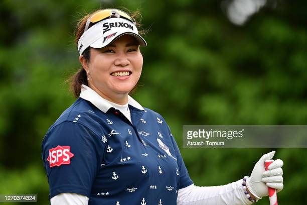 Miki Sakai of Japan smiles during the practice round ahead of the GOLF5 Ladies Tournament at the GOLF5 Country Mizunami Course on September 03 2020...