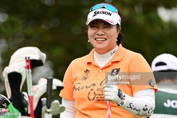Miki Sakai of Japan smiles during the third round of the Japan Women's Open Golf Championship at the Classic Golf Club on October 03, 2020 in...