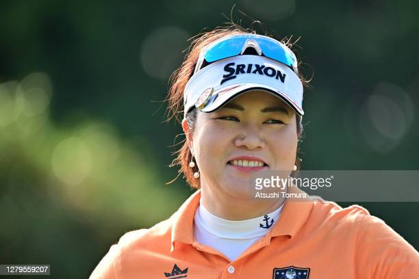 Miki Sakai of Japan smiles on the 1st tee during the final round of the Stanley Ladies Golf Tournament at the Tomei Country Club on October 11, 2020...