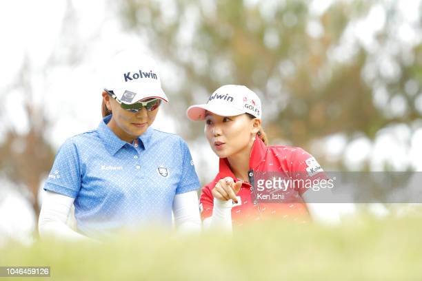 Miki Uehara of Japan and Na-Ri Lee of Korea pose for a photo on the 17th hole during the exhibition tournament of the Kanehide Miyarabi Open at...