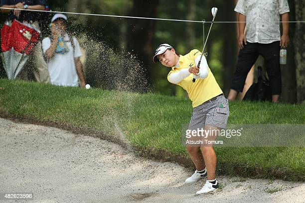 Miki Uehara of Japan hits from a bunker on the 2nd hole during the second round of the Daito Kentaku Eheyanet Ladies 2015 at the Narusawa Golf Club...