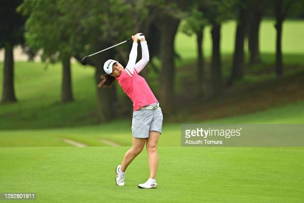 Miki Uehara of Japan hits her second shot on the 11th hole during the third round of the Earth Mondamin Cup at the Camellia Hills Country Club on...