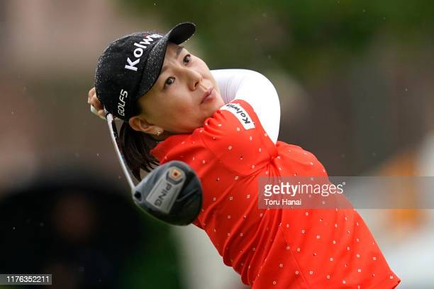 Miki Uehara of Japan hits her tee shot on the 1st hole during the final round of the Sanyo Shimbun Ladies Cup at Tojigaoka Marine Hills Golf Club on...
