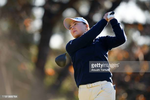 Miki Uehara of Japan hits her tee shot on the 1st hole during the third round of the Japanese LPGA Final Qualifying Tournament at Kodama Golf Club on...