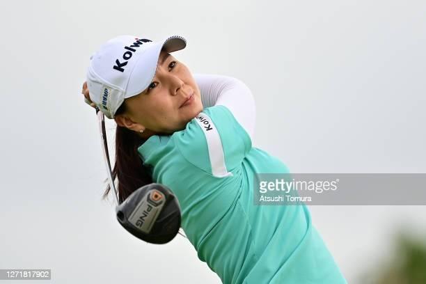 Miki Uehara of Japan hits her tee shot on the 1st hole during the second round of the JLPGA Championship Konica Minolta Cup at the JFE Setonaikai...