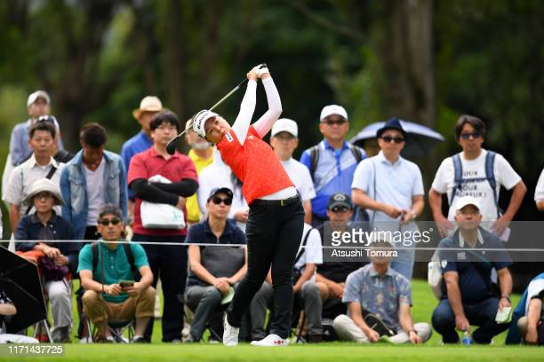 Miki Uehara of Japan hits her tee shot on the 2nd hole during the final round of the Nitori Ladies at Otaru Country Club on September 1, 2019 in...