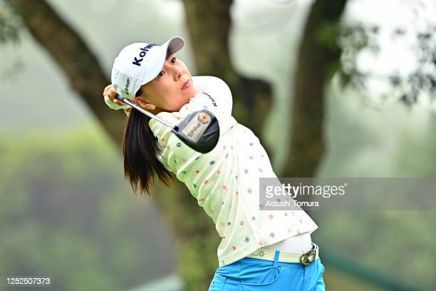 Miki Uehara of Japan hits her tee shot on the 3rd hole during the second round of the Earth Mondamin Cup at the Camellia Hills Country Club on June...