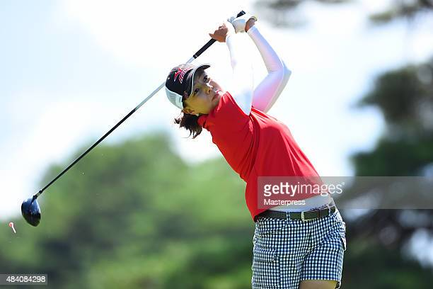 Miki Uehara of Japan hits her tee shot on the 4th hole during the second round of the NEC Karuizawa 72 Golf Tournament 2015 at the Karuizawa 72 Golf...