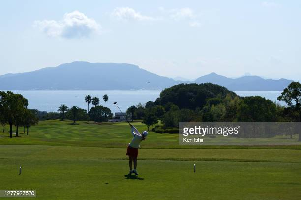 Miki Uehara of Japan hits her tee shot on the 5th hole during the final round of the Sanyo Shimbun Ladies Cup at Tojigaoka Marine Hills Golf Club on...