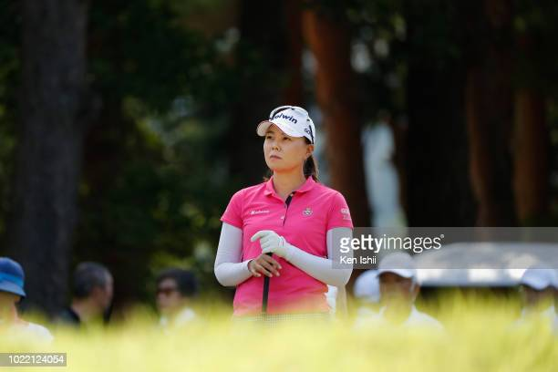 Miki Uehara of Japan looks on during the final round of the Sanin Godo Bank Duo Card Ladies at Daisen Heigen Golf Club on August 24, 2018 in Houki,...