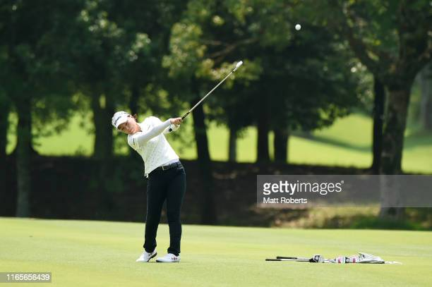 Miki Uehara of Japan plays her approach shot on the 9th hole during the final round of the Castol Ladies at Fuji Ichihara Golf Club on August 02,...