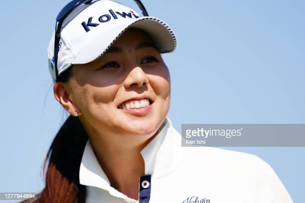 Miki Uehara of Japan smiles on the 15th green during the final round of the Sanyo Shimbun Ladies Cup at Tojigaoka Marine Hills Golf Club on October...