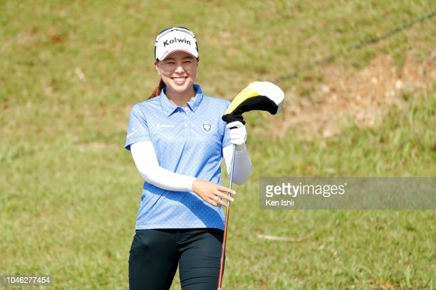 Miki Uehara of Japan smiles on the first hole during the exhibition tournament of the Kanehide Miyarabi Open at Kanehide Kise Country Club on October...